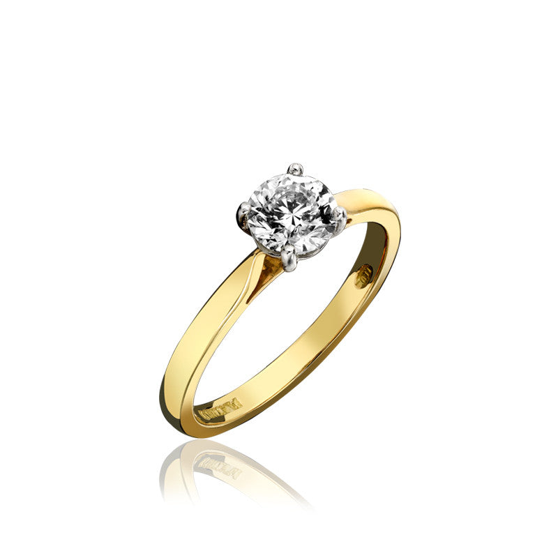 18ct Yellow Gold Brilliant Cut 0.25 Carat Diamond Solitaire Ring