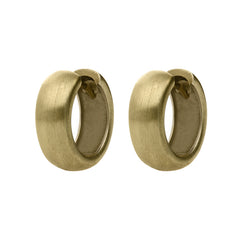 18ct Yellow Gold Chunky Satin Hoop Earrings