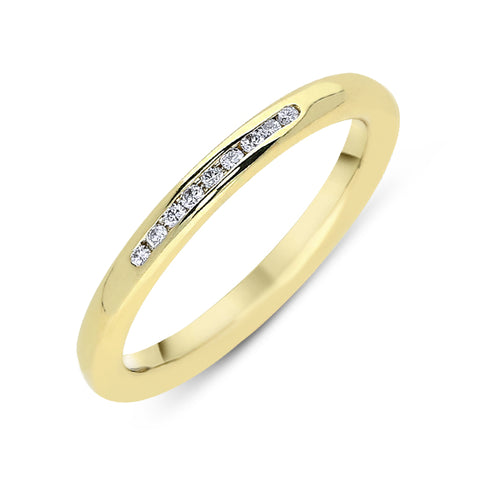 18ct Yellow Gold Diamond 2.5mm Wedding Ring