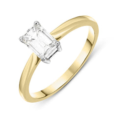 18ct Yellow Gold Diamond Baguette Cut Solitaire Ring