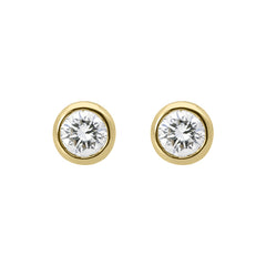 18ct Yellow Gold Diamond Bezel Set Solitaire Stud Earrings