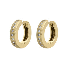 18ct Yellow Gold 0.19ct Diamond Brilliant Cut Satin Hoop Earrings