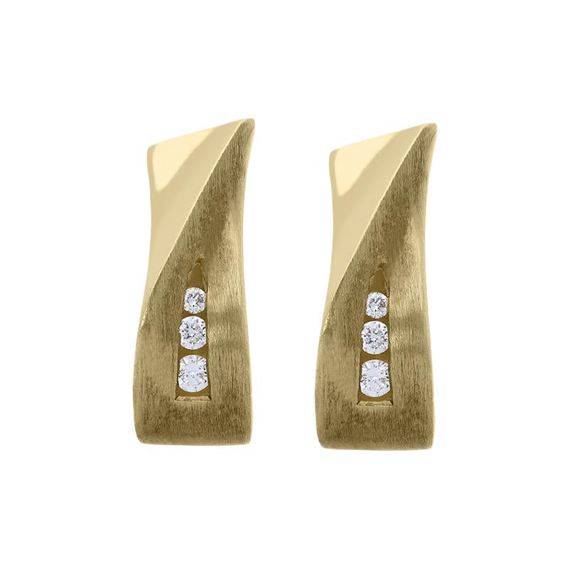 18ct Yellow Gold Diamond Brilliant Cut Shaped Hoop Earrings