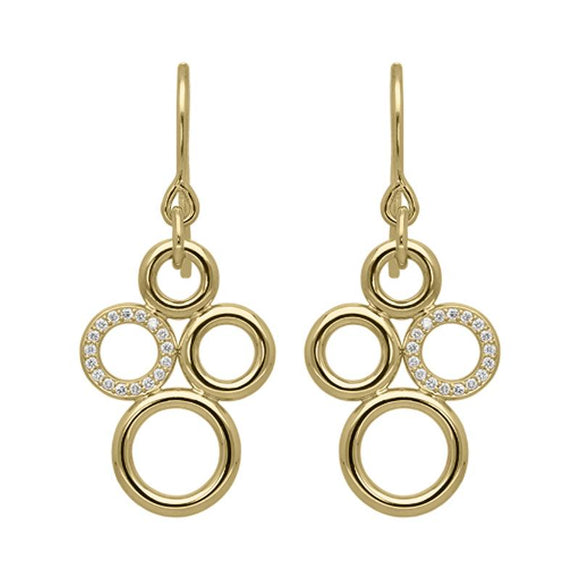 18ct Yellow Gold 0.14ct Diamond Circle Bubble Earrings STC-047
