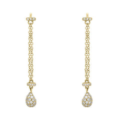 18ct Yellow Gold Diamond Double Chain Long Drop Earrings