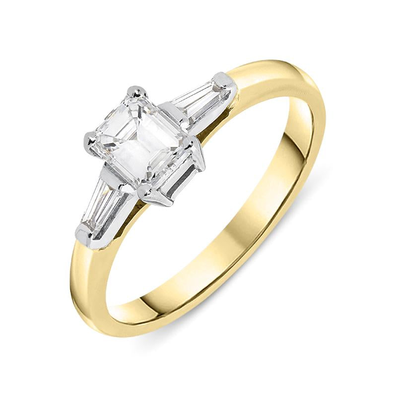18ct Yellow Gold Diamond Emerald Cut Trilogy Ring