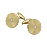 18ct Yellow Gold Diamond Enamel Cufflinks F2578_FO