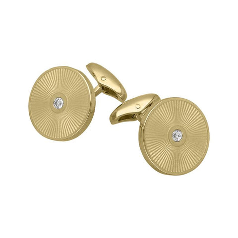 18ct Yellow Gold Diamond Enamel Cufflinks