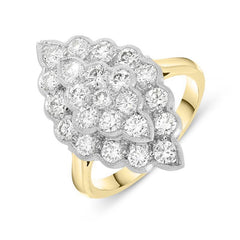 18ct Yellow Gold Diamond Honeycomb Cluster Ring