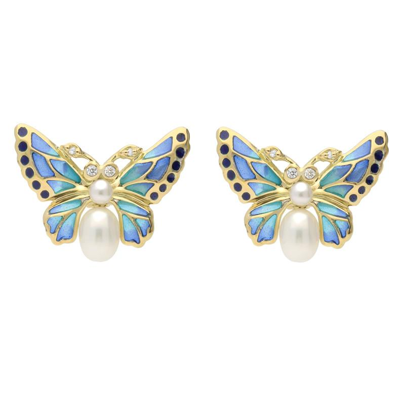18ct Yellow Gold Diamond Pearl Enamel House Style Butterfly Stud Earrings