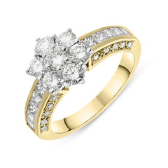 18ct Yellow Gold Diamond Shoulder Flower Ring