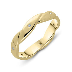 18ct Yellow Gold Diamond Twisted Wedding Ring