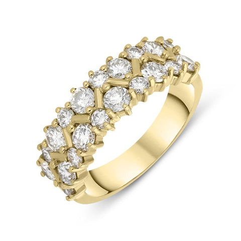 18ct Yellow Gold Diamond Two Row Ring