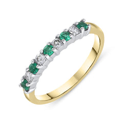 18ct Yellow Gold Emerald Diamond Half Eternity Ring