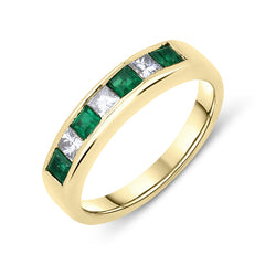 18ct Yellow Gold Emerald Diamond Princess Cut Half Eternity Ring