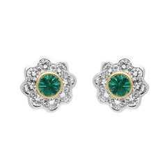 18ct Yellow Gold Emerald Diamond Round Flower Stud Earrings