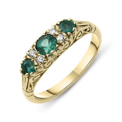 18ct Yellow Gold Emerald and Diamond Baroque Style Ring