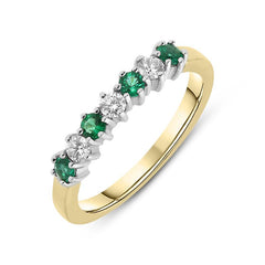 18ct Yellow Gold Emerald and Diamond Half Eternity Ring
