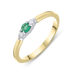 18ct Yellow Gold Emerald and Diamond Trilogy Ring