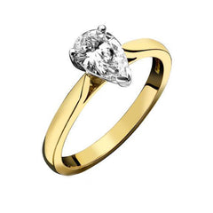 18ct Yellow Gold Pear Cut 0.27ct Diamond Solitaire Ring