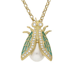 18ct Yellow Gold Pearl Diamond Enamel House Style Fly Necklace