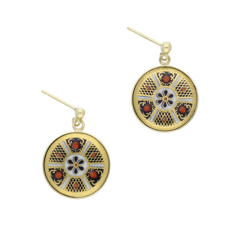 18ct Yellow Gold Royal Crown Derby Round Imari Earrings