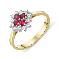 18ct Yellow Gold Ruby Diamond Floral Cluster Ring
