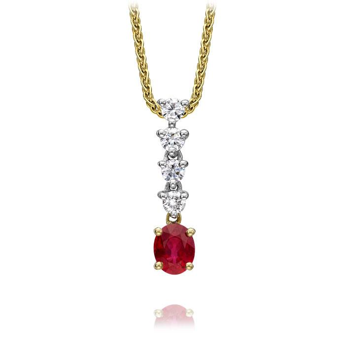 18ct Yellow Gold Ruby and Diamond Graduated Claw Set Necklace