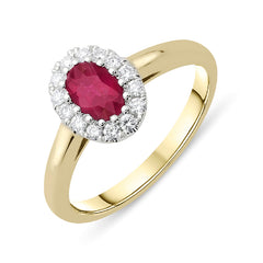 18ct Yellow Gold Ruby and Diamond Oval Cluster Ring