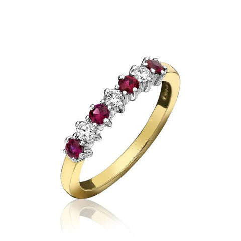 18ct Yellow Gold Ruby and Diamond Seven Stone Half Eternity Ring