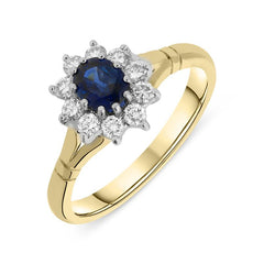 18ct Yellow Gold Sapphire Diamond Oval Cluster Ring