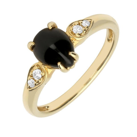 18ct Yellow Gold Whitby Jet 0.06 Carat Diamond Pear Ring