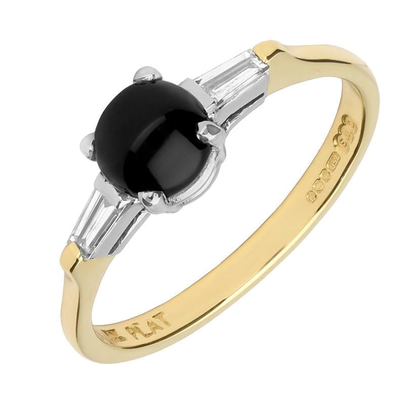 18ct Yellow Gold Whitby Jet 0.16 Carat Diamond Claw Set Ring