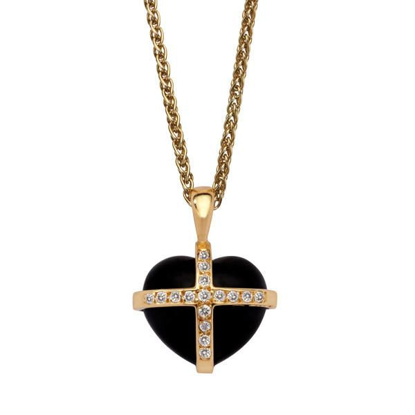 18ct Yellow Gold Whitby Jet 0.16ct Diamond Small Cross Heart Necklace