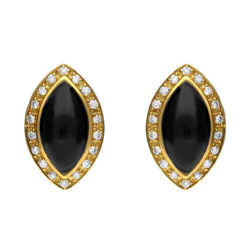 18ct Yellow Gold Whitby Jet 0.17ct Diamond Pave Marquise Stud Earrings