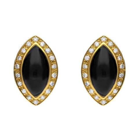 18ct Yellow Gold Whitby Jet 0.17ct Diamond Marquise Pavé Edge Stud Earrings