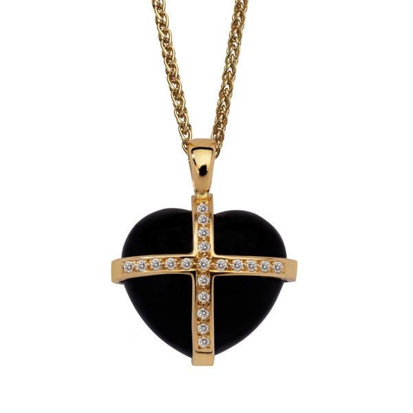 18ct Yellow Gold Whitby Jet 0.20ct Diamond Size M Cross Heart Necklace