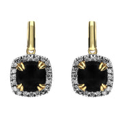 18ct Yellow Gold Whitby Jet 0.21ct Diamond Drop Earrings. E1671.