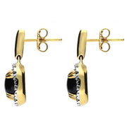 18ct Yellow Gold Whitby Jet 0.21ct Diamond Drop Earrings E1671
