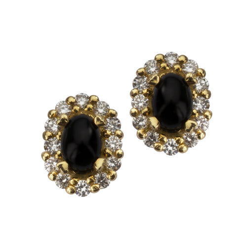 18ct Yellow Gold Whitby Jet 0.55ct Diamond Oval Cluster Stud Earrings