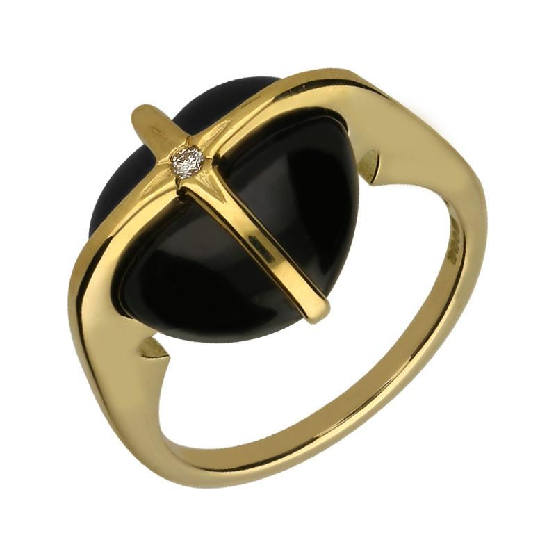 18ct Yellow Gold Whitby Jet Diamond Small Cross Heart Ring