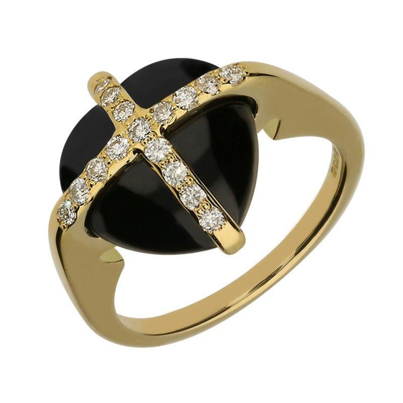 18ct Yellow Gold Whitby Jet 19 Diamond Small Cross Heart Ring