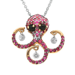 18ct Yellow Gold Whitby Jet Diamond and Ruby Octopus Necklace