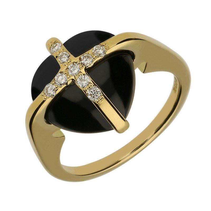 18ct Yellow Gold Whitby Jet Nine Diamond Small Cross Heart Ring