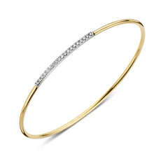18ct Yellow Gold and 0.17ct Diamond Nineteen Stone Bangle