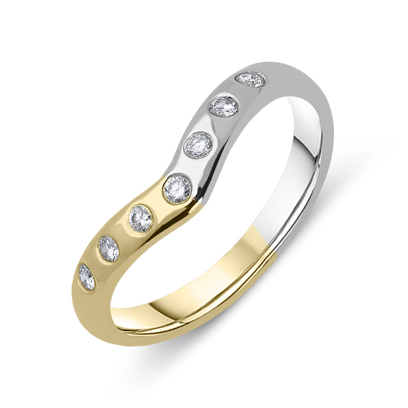 18ct Yellow Gold and Platinum Diamond Wishbone Wedding Ring