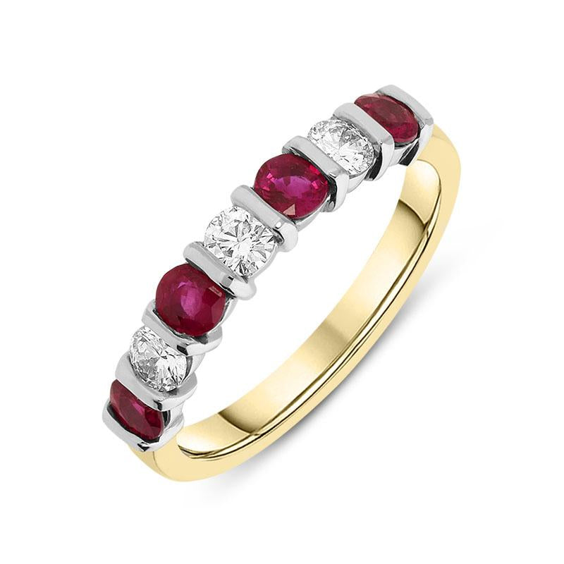18ct Yellow & White Gold 0.33ct Ruby 0.66ct Diamond Bar Set Eternity Ring