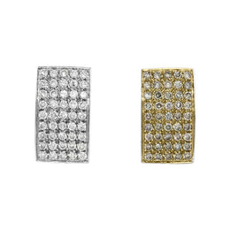 18ct Yellow and White Gold Diamond Pave Hoop Earrings