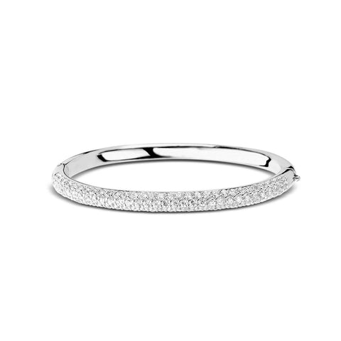 Ti Sento Bangle Silver And White Cubic Zirconia Pave Set