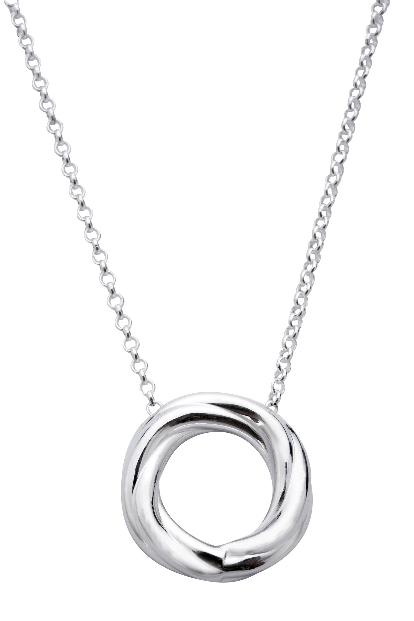 CW Sellors Necklace Flat Round Disc Medium Silver